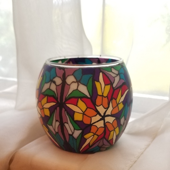 3/$20 Set of 2 Faux Stained Glass Candle Holders